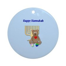 Happy Hannukah (bear/dreidels) Ornament (Round)