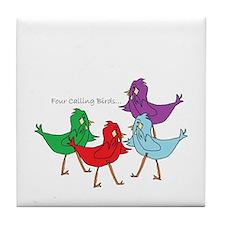 Four Calling Birds Tile Coaster