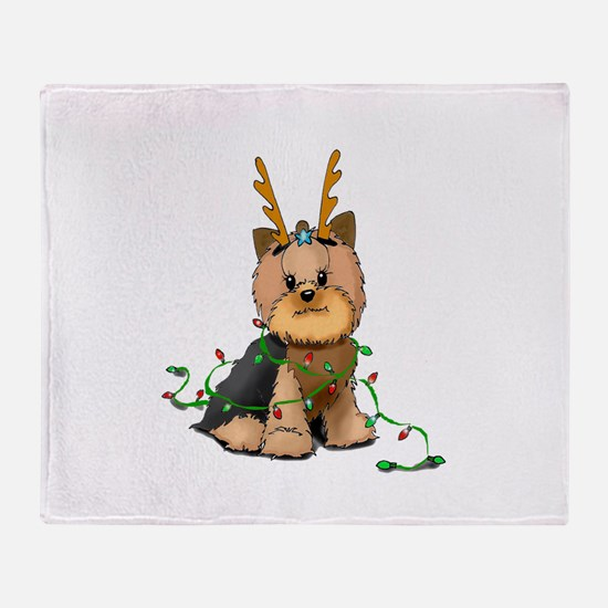 Christmas Yorkie Throw Blanket