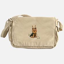 Christmas Yorkie Messenger Bag