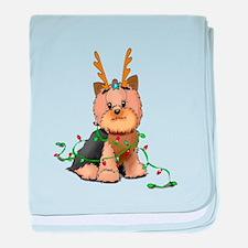 Christmas Yorkie baby blanket