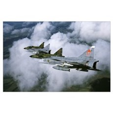 Four Saab 37 Viggen fighters of the Swedish Air Fo Poster