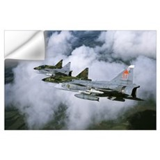 Four Saab 37 Viggen fighters of the Swedish Air Fo Wall Decal