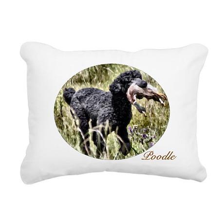Black Poodle Rectangular Canvas Pillow