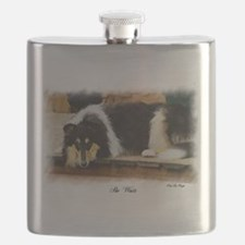 Tri Color Collie Flask