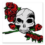 Rose Skull Square Car Magnet 3