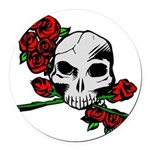 Rose Skull Round Car Magnet