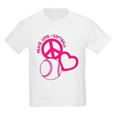 Peace, Love & Softball T-Shirt