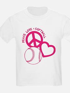 Peace, Love & Softball T-Shirt