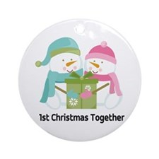 1st Christmas Together Snowmen Ornament (Round)
