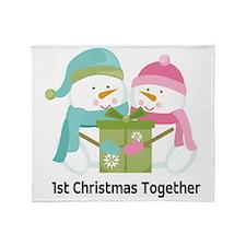 1st Christmas Together Snowmen Throw Blanket