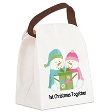 1st Christmas Together Snowmen Canvas Lunch Bag