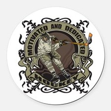 Motivated Hockey Player Round Car Magnet