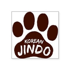 "Korean Jindo Paw Print Square Sticker 3"" x 3"""