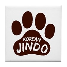 Korean Jindo Paw Print Tile Coaster