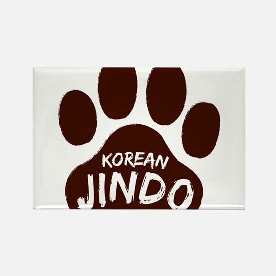 Korean Jindo Paw Print Rectangle Magnet