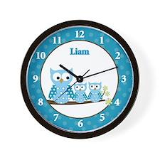 Liam Blue Hoot Owls Wall Clock