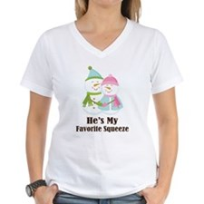 Snowman Couple Ladies Shirt