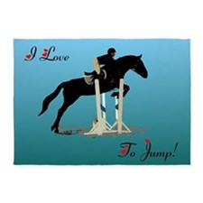 I Love To Jump Horse 5'x7'Area Rug