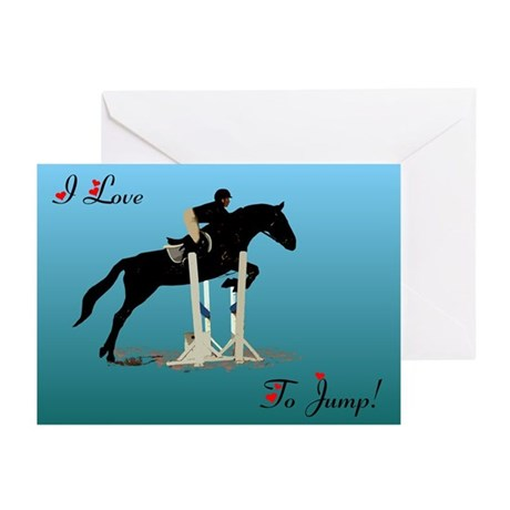 I Love To Jump Horse Greeting Cards (Pk of 10)