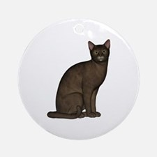 Abyssinian Quietly Sitting Ornament (Round)