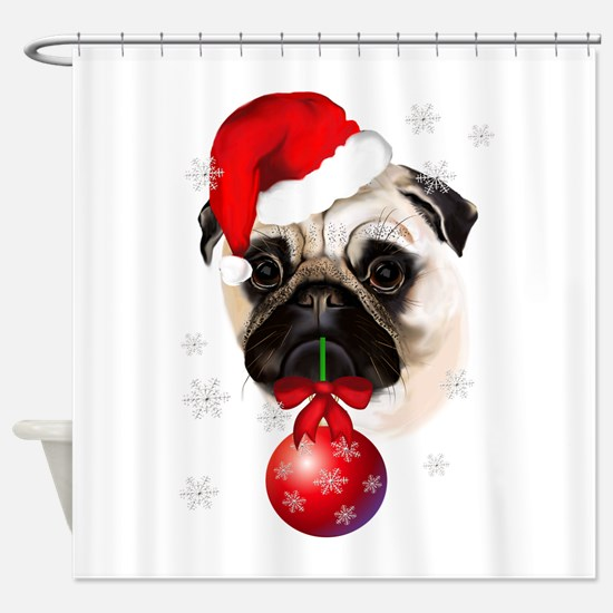 A Very Merry Christmas Pug Shower Curtain