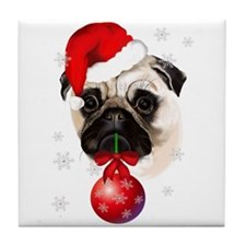 A Very Merry Christmas Pug Tile Coaster