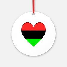 African American Flag Heart Black Border Ornament