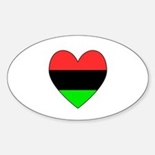 African American Flag Heart Black Border Decal