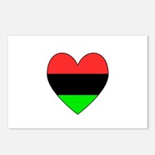 African American Flag Heart Black Border Postcards