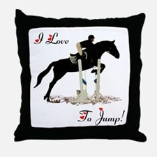 I Love To Jump Horse Throw Pillow