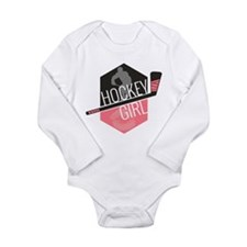 Hockey Girl (Pink) Long Sleeve Infant Bodysuit
