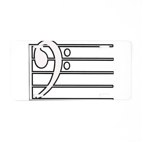 BASS CLEF STAFF- WHITE Aluminum License Plate