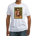 GIRL WITH PUG Fitted T-Shirt
