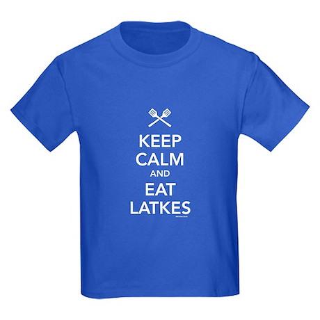 Keep Calm and Eat Latkes Kids Dark T-Shirt