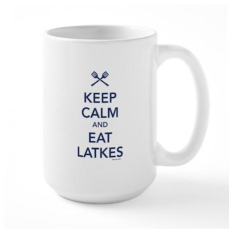 Keep Calm and Eat Latkes Large Mug