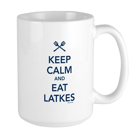Keep Calm and Eat Latkes Large Mug