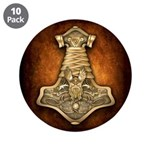 "Mjolnir - Thors Hammer 3.5"" Button (10 pack)"