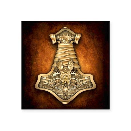 "Mjolnir - Thors Hammer Square Sticker 3"" x 3&"
