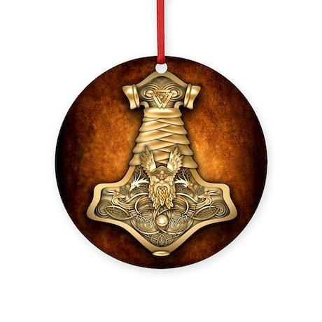 Mjolnir - Thors Hammer Ornament (Round)