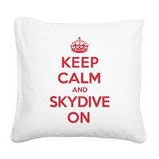 Keep Calm Skydive Square Canvas Pillow