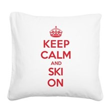 Keep Calm Ski Jump Square Canvas Pillow