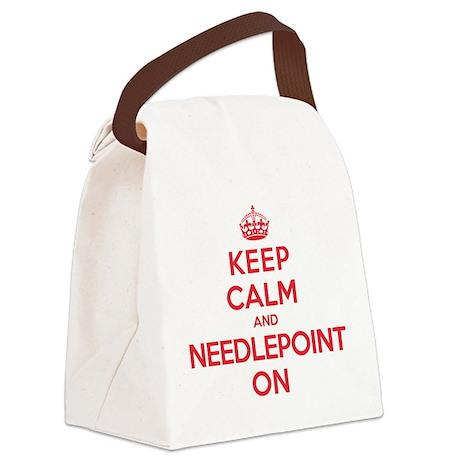 Keep Calm Needlepoint Canvas Lunch Bag