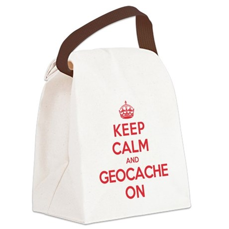 Keep Calm Geocache Canvas Lunch Bag