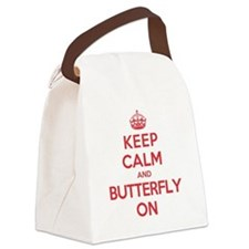 Keep Calm Butterfly Canvas Lunch Bag