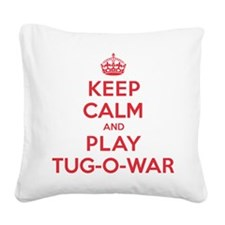 K C Play Tug-O-War Square Canvas Pillow