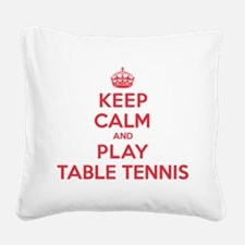K C Play Table Tennis Square Canvas Pillow