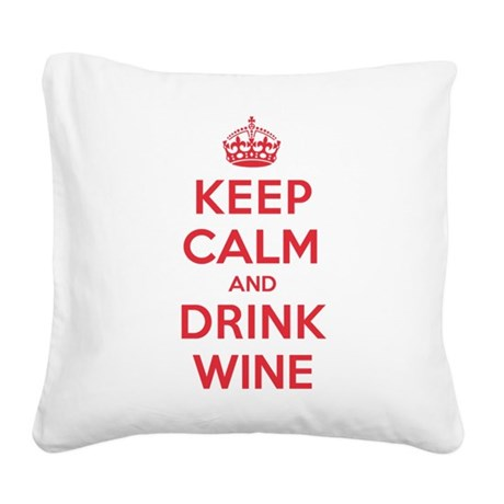 K C Drink Wine Square Canvas Pillow