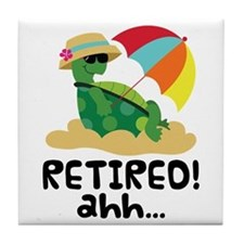 Cute Retired Turtle Tile Coaster
