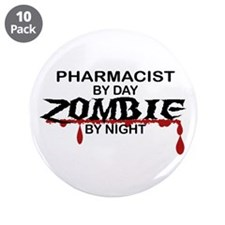 """Pharmacist Zombie 3.5"""" Button (10 pack)"""